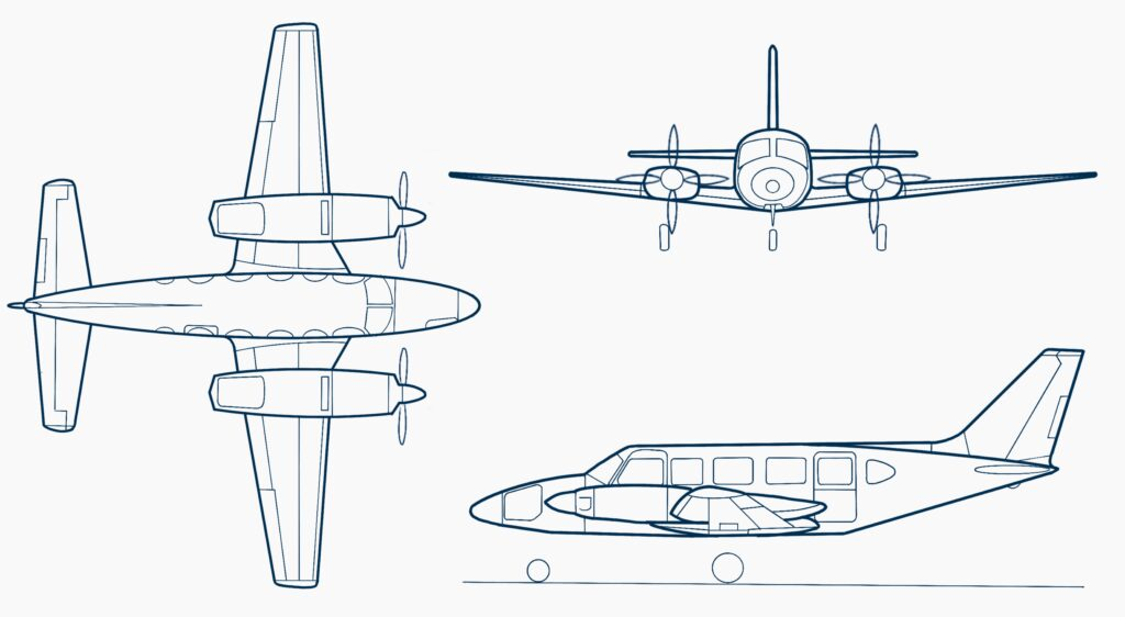 Piper-PA31-350-Chieftain-drawing
